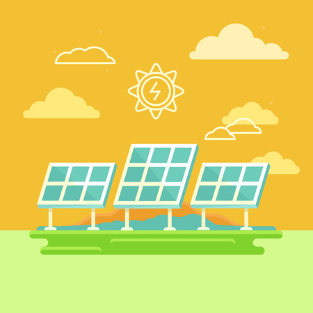 illustration in simple flat style - alternative and renewable energy - solar panels with natural landscape