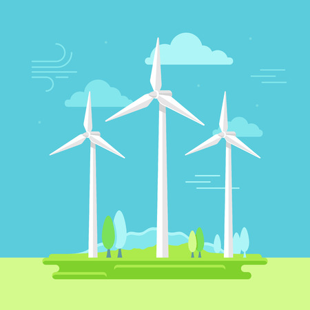 electrical energy: illustration in simple flat style - alternative and renewable energy - wind-powered electrical generators with natural landscape