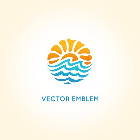 plantilla de diseño abstracto - sol y el mar - concepto de agencia de viajes - ilustración brillante del verano