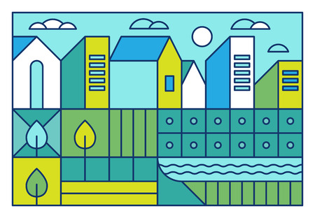 lake district: illustration with city landscape in trendy linear style - abstract modern town concept with park and garden in blue and green colors