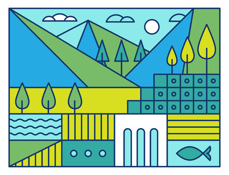 lake district: illustration with nature landscape in trendy linear style - abstract modern  concept with park and garden in blue and green colors Illustration