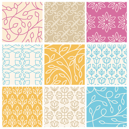 set of seamless patterns in trendy linear style with leaves - backgrounds for websites and packaging for cosmetics products, florists, wedding invitations