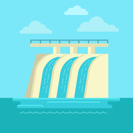 electrical energy: Vector illustration in simple flat style - alternative and renewable energy - hydro electrical station with natural landscape Illustration