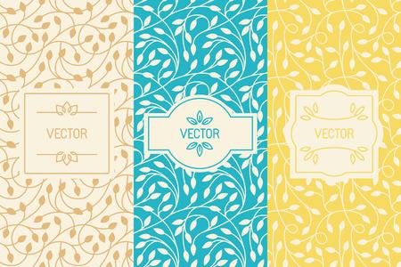 デザイン要素、罫線、フレーム、自然化粧品や美容製品の包装 - 花と葉で抽象的な背景のシームレス パターンのセット