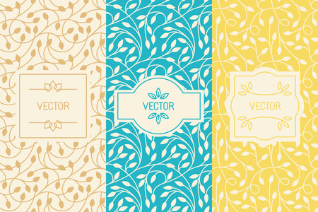 set of design elements, borders and frames, seamless patterns for natural cosmetics or beauty product packaging - abstract backgrounds with flowers and leaves