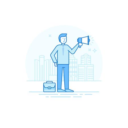 fila de personas: ilustración de estilo lineal plana de moda en color azul - el hombre que sostiene el megáfono y el altavoz - publicidad y promoción empresarial concepto Vectores