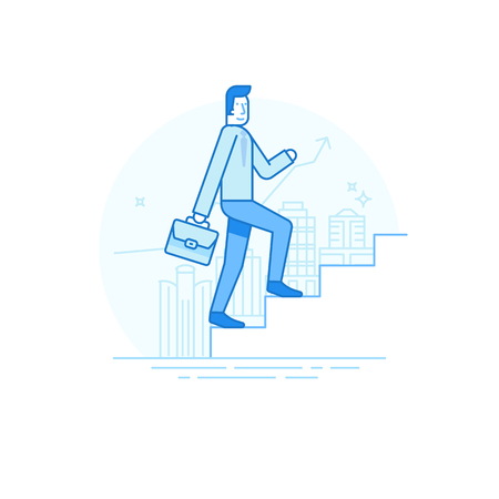illustration in trendy flat linear style in blue colour - man walking up the staircase with briefcase - career development concept
