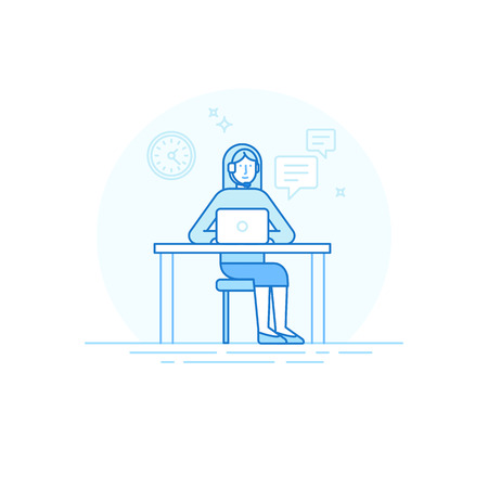 troubleshooting: illustration in trendy flat linear style in blue colour - woman character with headset sitting at the desktop with laptop - technical support concept - call center icon