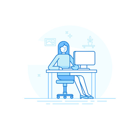 woman computer: illustration in trendy flat linear style and blue colors - woman working sitting at the desk with computer - creative and freelance work concept in home office