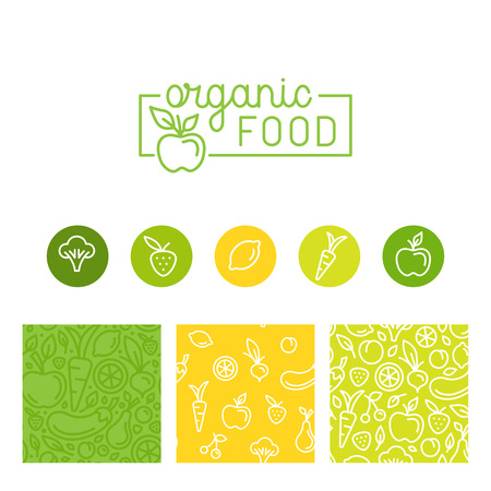 tiendas de comida: conjunto de elementos de diseño, patrones de costura y fondos para el envasado de alimentos orgánicos, saludable y vegetariana - etiquetas verdes y emblemas para productos vegetarianos, tiendas, tiendas de alimentos naturales y sitios web