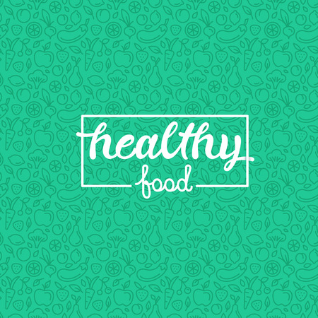 handlettering: Healthy food - motivational poster or banner with hand-lettering phrase on green background with trendy linear icons and signs of fruits and vegetables Illustration