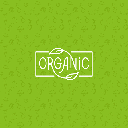 Organic food - motivational poster or banner with hand-lettering phrase on green background with trendy linear icons and signs of fruits and vegetables