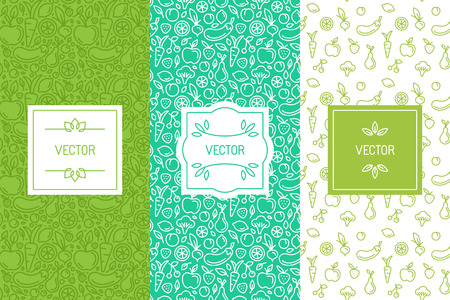 set of design elements, seamless patterns and backgrounds for organic, healthy and vegan food packaging - green labels and emblems for vegetarian products, shops and websites with copy space for text