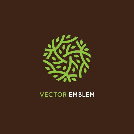 plantilla de diseño en color verde - resumen emblema final señal para centros holísticos de la medicina, tiendas de alimentos orgánicos, cosméticos productos naturales - círculo hecho con hojas y ramas