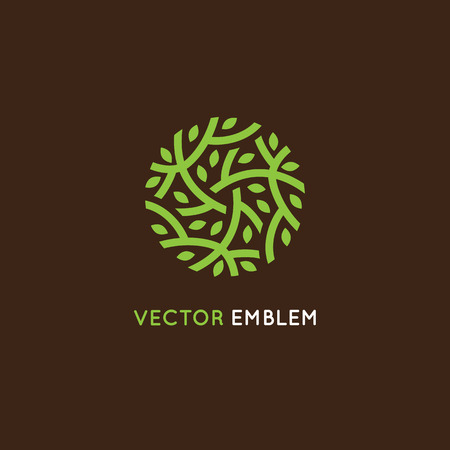 design template in green color - abstract sign end emblem for holistic medicine centers, organic food stores, natural cosmetics products - circle made with leaves and branches Vectores