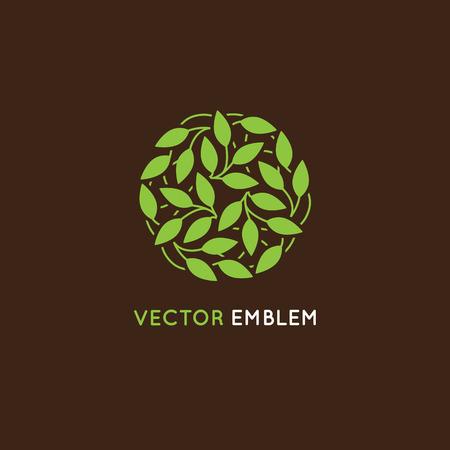 terapia psicologica: plantilla de diseño - círculo hecho con hojas verdes - emblema y signo de productos orgánicos y naturales - alimentos, cosméticos, tiendas, clases de yoga