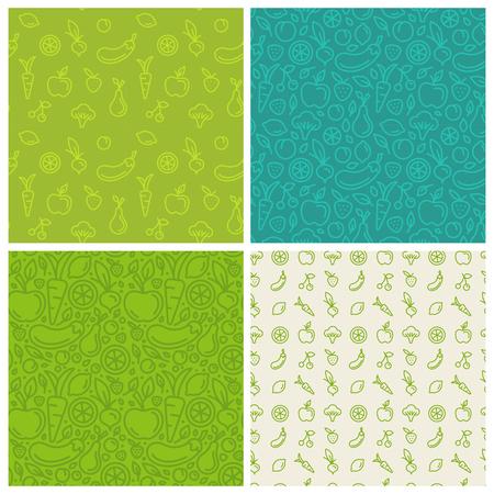 Reihe von grünen nahtlose Muster, abstrakte Hintergründe und Design-Vorlagen für Verpackungen und Websites im trendigen linearen Stil mit Gemüse und Obst Symbole - für eine gesunde, organische und vegane Lebensmittel, Produkte und Kosmetika Standard-Bild - 58771343