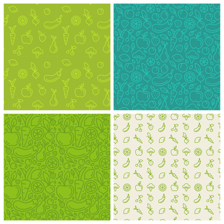 set of green seamless patterns, abstract backgrounds and design templates for packaging and websites in trendy linear style with vegetable and fruit icons - for healthy, organic and vegan food, products and cosmetics