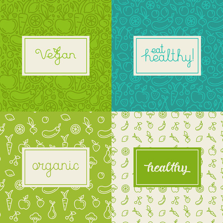 label design: set of design elements, seamless patterns and backgrounds for organic, healthy and vegan food packaging - green labels and emblems for vegetarian products, shops and websites with copy space for text