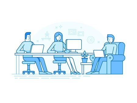트렌디 한 평면 선형 스타일 및 파랑 색상 - 공간 크리 에이 티브 팀 창조적 인 팀과 책상에 앉아 컴퓨터와 노트북 온라인 비즈니스에 종사 하 고 시작 - 일러스트