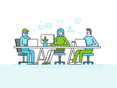 illustration in trendy flat linear style and infographics design elements - coworking office space - creative team of people working at the computers and laptops - online business and start up concept