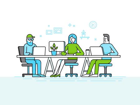 Ilustración de elementos planos de diseño de moda de estilo lineal y de infografía - espacio de coworking oficina - equipo creativo de las personas que trabajan en los ordenadores y portátiles - negocio en línea y poner en marcha el concepto