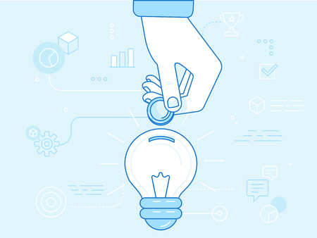 initiator: Vector crowdfunding concept in flat style - new business model - funding project by raising monetary contributions from people - hand putting coin inside the light bulb Illustration