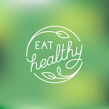 design template in trendy linear style with hand-lettering - eat healthy - vegetarian and organic food badge or emblem for food packaging - label with leaves on green background