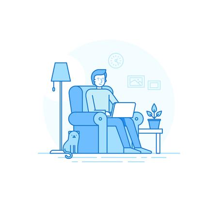 trabajando en casa: ilustración de estilo lineal plana moda - Carácter del hombre que trabaja en el ordenador portátil sentado en el sillón con el gato - Ministerio del Interior y miembro del equipo creativo a distancia - externalizar y el concepto de trabajo independiente