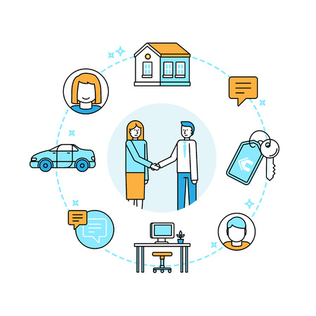 consumer society: Vector illustration in trendy flat linear style - sharing economy and collaborative consumption concept and infographic design elements - peer to peer lending and renting - carsharing, coworking, coliving