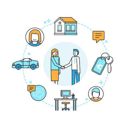 Vector illustration style tendance plat linéaire - le partage de l'économie et le concept de consommation collaborative et éléments de conception infographique - peer to peer de prêt et location - carsharing, coworking, coliving Banque d'images - 58546447