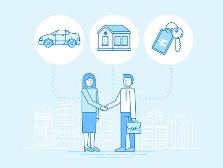 peer to peer: Ilustración del vector en estilo de moda plana lineal - el intercambio de la economía y el concepto de consumo colaborativo y elementos de diseño de infografía - préstamo entre particulares y el alquiler - uso compartido de vehículos, coworking, coliving Vectores