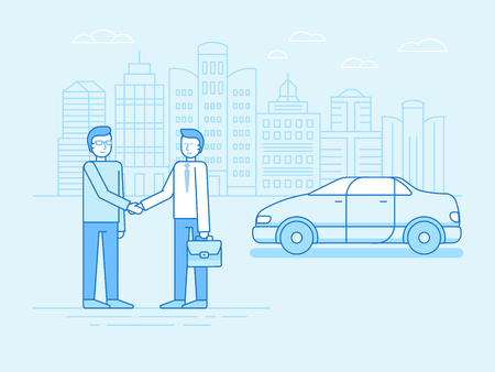 new car: Vector illustration in trendy linear flat style and blue colors - car sharing concept - new model of car rental service - collaborative consumption and sharing economy