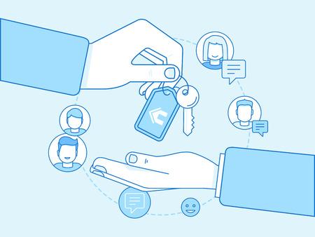 Vector illustration dans le style linéaire plat à la mode - le partage de l'économie et le concept de consommation collaborative et éléments de conception infographique - échange de maison et échange de maison Vecteurs