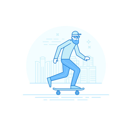 trendy male: Vector male character in flat linear style - man riding skateboard - illustration in simple trendy style