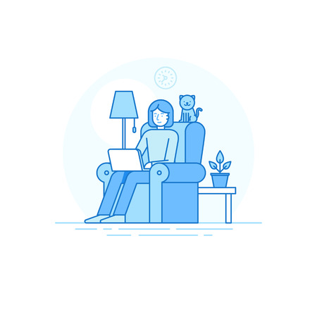 outsource: illustration in trendy flat linear style - woman character working at the laptop sitting in the armchair with cat - home office and remote creative team member - outsource and freelance work concept