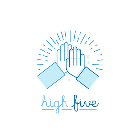 Vector illustration in flat style - high five - two hands giving a high five for success Vectores