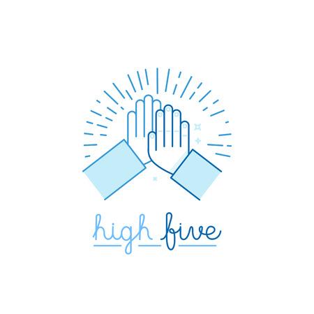 alto: Ilustración del vector en estilo plano - altos cinco - dos manos dando un máximo de cinco para el éxito