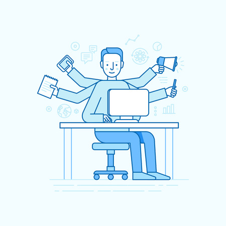 freelancer: Vector self employment concept in trendy flat linear style - multitasking freelancer - man working on different projects from his home office Illustration