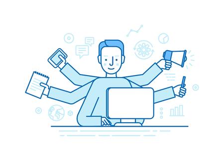 concept de vecteur auto-emploi dans un style linéaire plat branché - freelancer multitâche - homme travaillant sur différents projets de son bureau à domicile - Jack of All Trades notion