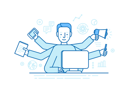 Vector self employment concept in trendy flat linear style - multitasking freelancer - man working on different projects from his home office - jack of all trades concept Vectores
