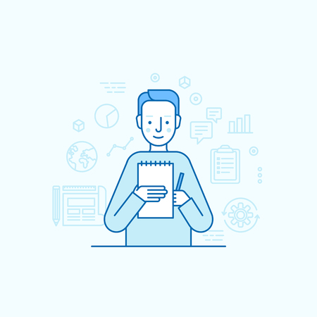 trendy male: Vector illustration in trendy flat linear style - male character holding business report and pen - finance consultant and copywriter concept for banner or landing page
