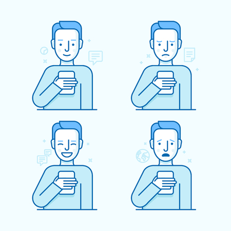 addict: Vector set of illustrations of the male character in trendy flat linear style - guy holding mobile phone with different expressions of face - smartphone addict - receiving notifications, messages and news from his device