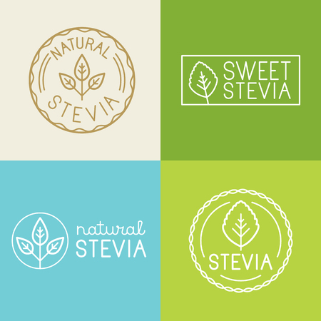 set of labels, badges and design elements for food packaging with hand-lettering and icons - organic and natural stevia