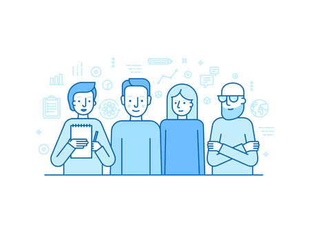 illustration in trendy flat linear style - creative team - businessman, copywriter, graphic designer and programmer - human resources and teamwork concept for banner or landing page Vectores