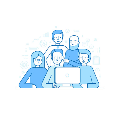 Vetor illustration in trendy flat linear style - creative team working on a website for start up business - men and woman at the computer - developing and management of the project - human resources and career opportunities concept for banner or landing p Иллюстрация