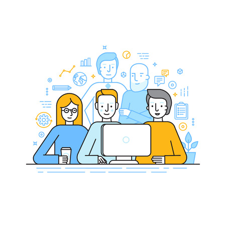 illustration in trendy flat linear style - creative team working on a website for start up business - men and woman working at the computer - human resources and career opportunities for banner or landing page