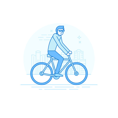 trendy male: Vector male character in flat linear style - man riding bicycle- illustration in simple trendy style Illustration