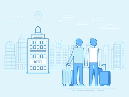 albergo: Illustrazione vettoriale in stile lineare piatto alla moda - persone che arrivano presso l'edificio con borse e bagagli - concetto di viaggio e icona