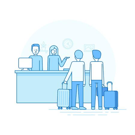 albergo: Illustrazione vettoriale in stile lineare piatto alla moda - reception e scrivania - uomo e donna accogliente due viaggiatori - check-in concetto e viaggiare infografica elementi di design